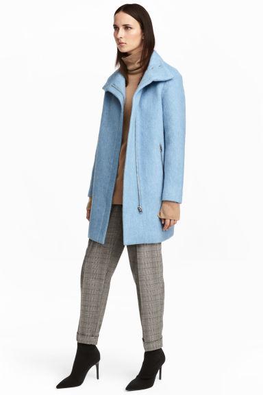 blauwe wol jas